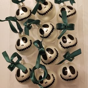 Jack Skellington 10 Piece Mini Ornament Set Ribbon
